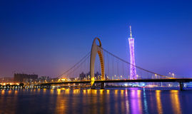 Zhujiang River and modern building of financial district at nigh Stock Image