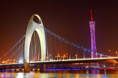 Zhujiang River and modern building of financial district at nigh Stock Photos