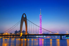 Zhujiang River and modern building of financial district at nigh Stock Images