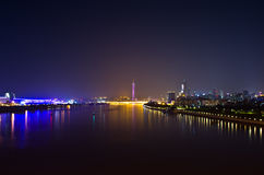 Zhujiang River at night in guangzhou china. Stock Photo