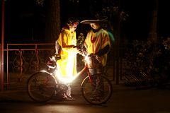 Zhukovskiy, Rusland, 26 Augustus, 2017 De Nacht van de fietsparade Stock Foto's