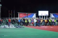 Zhukovskiy, Russia, August 26, 2017. Bike Parade Night. Royalty Free Stock Photos