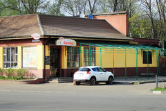 Zhukovskiy, Russia - May 02, 2017: Editorial use only. The car i. S near the roadside cafe Royalty Free Stock Photography