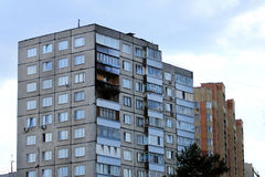 Zhukovskiy, Russia - May 02, 2017: Editorial use only. Traces of. A fire in an apartment building Stock Photography