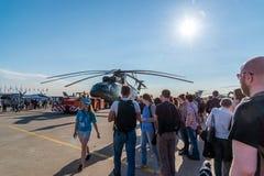 Zhukovsky,俄罗斯- 7月24 2017年 俄国重的多用途运输直升机在国际航空航天展示MAKS的Mi 26 2017年 免版税库存照片