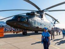Zhukovsky,俄罗斯- 7月24 2017年 俄国重的多用途运输直升机在国际航空航天展示MAKS的Mi 26 2017年 免版税库存图片