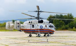 Ministry of Emergency Situations of Russia Kamov Ka-32 rescue helicopter is being prepared for takeoff. Zhukovsky, moskow region, Russia - September 1, 2013 stock image