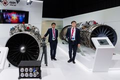 Zhukovsky Rosja, Lipiec, - 22 2017 Zlany Silnik Corporationat na Astronautycznym salonie MAKS-2017 obrazy royalty free