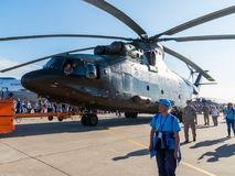 Zhukovsky, Russia - July 24. 2017. Russian heavy multipurpose transport helicopter Mi 26 at international aerospace show MAKS 2017 Royalty Free Stock Images
