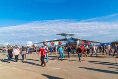 Zhukovsky Ryssland - Juli 24 2017 Beriev A-50 är detbyggda luftburen varnings- och kontrollsystemet AWACS på internationellt flyg Royaltyfria Bilder