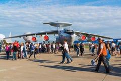 Zhukovsky Ryssland - Juli 24 2017 Beriev A-50 är detbyggda luftburen varnings- och kontrollsystemet AWACS på internationellt flyg Fotografering för Bildbyråer