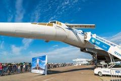 Zhukovsky Ryssland - Juli 24 2017 Nivån för tupoleven Tu-144 var första i flygplan för supersonisk transport för värld kommersiel Arkivbilder