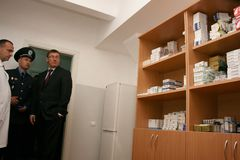 Clinic of temporary residence of foreigners and stateless person. ZHURAVYCHI, UKRAINE - 12 September 2008: Minister of Internal Affairs Yuriy Lutsenko right in Stock Photo