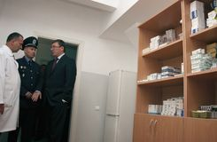 Clinic of temporary residence of foreigners and stateless person. ZHURAVYCHI, UKRAINE - 12 September 2008: Minister of Internal Affairs Yuriy Lutsenko right in Royalty Free Stock Photo