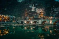 "Zhusheng Bridge, Zhenyuan city, Guizhou, China. [Feb. 2018] Zhusheng bridge is build in Ming dynasty, about 600 years ago. ""Zhenyuan""city located in the east Royalty Free Stock Image"