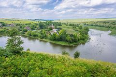 Zhvanchyk River in Ukraine. Aerial view of Zhvanchyk River, tributary of the Dniester from castle ruins in Zhvanets town, Ukraine Royalty Free Stock Photography