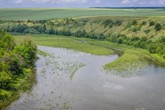 Zhvanchyk River in Ukraine. Aerial view of Zhvanchyk River, tributary of the Dniester in Zhvanets village, Ukraine Royalty Free Stock Photo