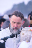Zhytomyr, Ουκρανία - 19 Ιανουαρίου 2016: Εορτασμός παπάδων epiphany Στοκ Εικόνες