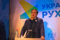 ZHYTOMYR, de OEKRAÏNE - 28 Februari, 2016: Mikheil Saakashvili bij anti-corruptieforum stock foto's