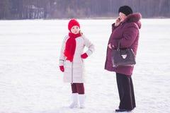 Zhytomyr, de Oekraïne - Januari 19, 2016: Meisjesoma bij de winter Royalty-vrije Stock Fotografie
