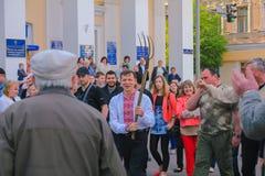 Zhytomyr, de Oekraïne - Juni 20, 2015: Leider van de Radicale Partij Oleg Lyashko met hooivork Stock Afbeelding
