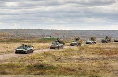 Armed Forces of Ukraine. ZHYTOMYR Reg, UKRAINE - Oct. 14, 2017: Column of armored vehicles. Combat training of the Armed Forces of Ukraine in the training center Stock Images