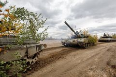 Armed Forces of Ukraine. ZHYTOMYR Reg, UKRAINE - Oct. 14, 2017: Column of tanks. Combat training of the Armed Forces of Ukraine in the training center of Royalty Free Stock Images