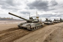 Armed Forces of Ukraine. ZHYTOMYR Reg, UKRAINE - Oct. 14, 2017: Column of tanks. Combat training of the Armed Forces of Ukraine in the training center of Royalty Free Stock Image