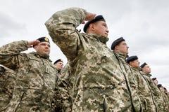 Armed Forces of Ukraine. ZHYTOMYR Reg, UKRAINE - Oct. 14, 2017: Combat training of the Armed Forces of Ukraine in the training center of Zhytomyr region Royalty Free Stock Image