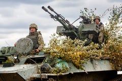 Armed Forces of Ukraine. ZHYTOMYR Reg, UKRAINE - Oct. 14, 2017: Combat training of the Armed Forces of Ukraine in the training center of Zhytomyr region Stock Photography