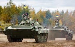 Armed Forces of Ukraine. ZHYTOMYR Reg, UKRAINE - Oct. 14, 2017: Combat training of the Armed Forces of Ukraine in the training center of Zhytomyr region Royalty Free Stock Images