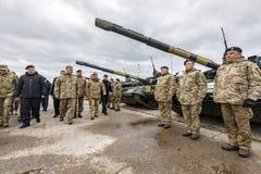 Armed Forces of Ukraine. ZHYTOMYR Reg, UKRAINE - Oct. 14, 2017: President of Ukraine Petro Poroshenko speaks to the servicemen of the Armed Forces at a training Royalty Free Stock Photos