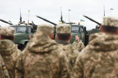 Armed Forces of Ukraine. ZHYTOMYR Reg, UKRAINE - Oct. 14, 2017: President of Ukraine Petro Poroshenko speaks to the servicemen of the Armed Forces at a training Royalty Free Stock Photography