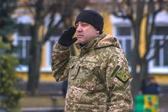 Zhytomyr, Ucrânia - 26 de fevereiro de 2016: Parada militar militar, fileiras dos soldados Imagens de Stock Royalty Free