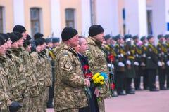 Zhytomyr, Ucrânia - 26 de fevereiro de 2016: Parada militar militar, fileiras dos soldados Imagem de Stock Royalty Free