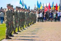 Zhytomyr, Ucrânia - 9 de maio de 2016: Parada militar militar, fileiras dos soldados Imagem de Stock