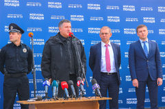 Zhytomyr, Ucrania - 5 de abril de 2015: Arsen Avakov, el ministro del interior, en la ceremonia de la nueva policía Fotografía de archivo libre de regalías