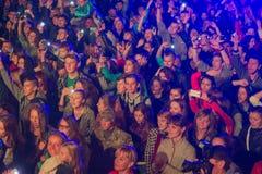 Zhytomyr, Ucrania - 2 de septiembre de 2016: Gente que baila en el festival de música libre Imagen de archivo