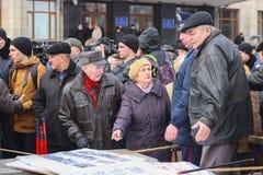 Zhytomyr, Ucrania - 15 de septiembre de 2015: Gente que protesta contra el gobierno Imagen de archivo