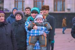 Zhytomyr, Ucrania - 15 de septiembre de 2015: Gente que protesta contra el gobierno Fotografía de archivo libre de regalías