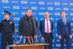 Zhytomyr Ukraina - April 5, 2015: Arsen Avakov ministern av inre, på ceremoni av den nya polisen Royaltyfri Fotografi