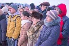 Zhytomyr Ukraina - Januari 19, 2016: Folk som firar epiphany Arkivfoton