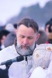 Zhytomyr Ukraina - Januari 19, 2016: Påve som firar epiphany Arkivbilder