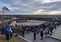 Zhytomyr Ukraina, Listopad, - 21, 2018: Militarna parada, cysternowa śmigłowcowa kolumna obrazy royalty free
