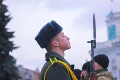 Zhytomyr Ukraina, Luty, - 26, 2016: Militarna militarna parada, rzędy żołnierze Zdjęcie Stock