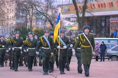 Zhytomyr Ukraina, Luty, - 26, 2016: Militarna militarna parada, rzędy żołnierze Zdjęcie Royalty Free
