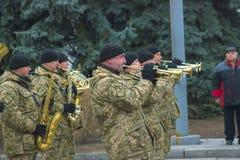 Zhytomyr Ukraina, Luty, - 26, 2016: Militarna militarna parada, rzędy żołnierze Zdjęcia Stock
