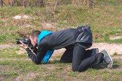 Zhytomyr Ukraina, Wrzesień, - 03, 2015: Portret śmieszni paparazzi Zdjęcie Stock