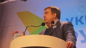 ZHYTOMYR, UKRAINE - 28 février 2016 : Mikheil Saakashvili au forum d'anti-corruption banque de vidéos
