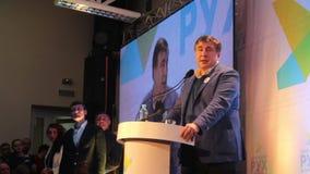 ZHYTOMYR, UKRAINE - 28 février 2016 : Mikheil Saakashvili au forum d'anti-corruption clips vidéos